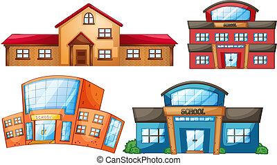 bâtiment, différent, ensemble, école