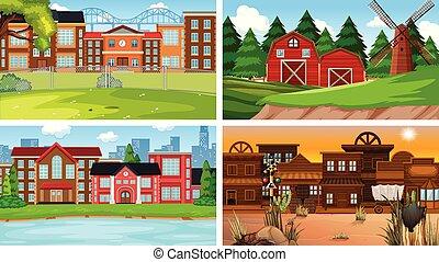 bâtiment, différent, ensemble, scène, nature