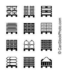 bâtiment, différent, matériels, palettes