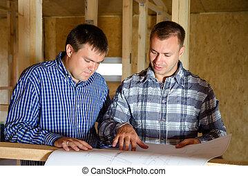 bâtiment, discuter, constructeurs, deux, plan