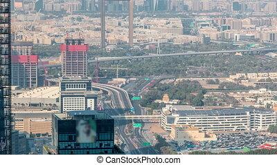bâtiment, district financier, grues, timelapse, en ville, construction, trafic, sous, aérien, zabeel, vue