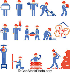 bâtiment, divers, démolition, caractère, icônes