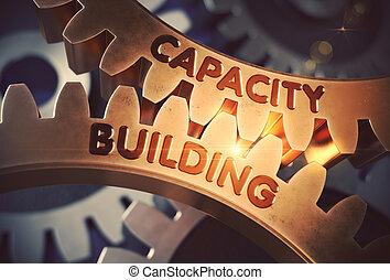 bâtiment, doré, capacité, illustration., concept., gears., 3d