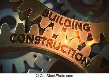 bâtiment, doré, illustration., construction, gears., 3d