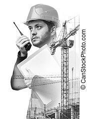 bâtiment, double, sous, ingénieur, construction., exposition