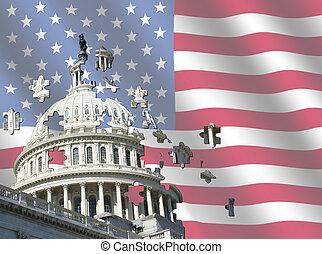 bâtiment, drapeau, capitole, nous