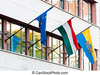 bâtiment, drapeaux, quelques-uns, bureau, pays