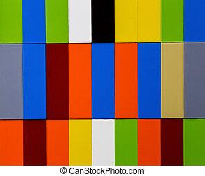 bâtiment, empilé, blocs jouet, coloré