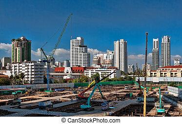bâtiment, en ville, site construction