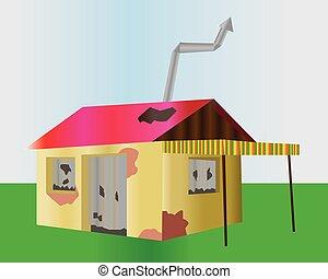 bâtiment, endommagé, one-floor