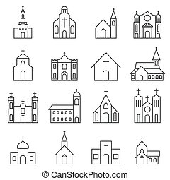 bâtiment, ensemble, église, vecteur, icône