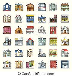 bâtiment, ensemble, 1/3, contour, construction, rempli, icône