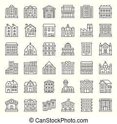bâtiment, ensemble, 1/3, contour, construction, vecteur, icône