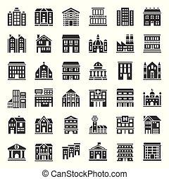 bâtiment, ensemble, 1/3, solide, construction, vecteur, icône