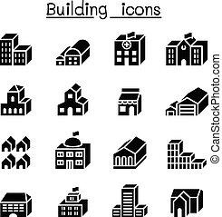 bâtiment, ensemble, 3, fondamental, dimension, icône