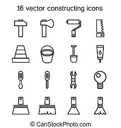 bâtiment, ensemble, construire, icônes
