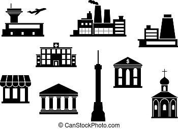 bâtiment, ensemble, icônes
