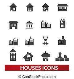 bâtiment, &, ensemble, icônes, maisons, vecteur