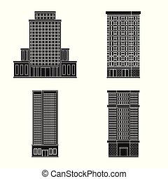 bâtiment, ensemble, illustration., propriété, moderne, symbole., vecteur, conception, stockage