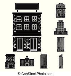 bâtiment, ensemble, illustration., propriété, moderne, vecteur, conception, icon., stockage
