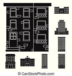 bâtiment, ensemble, illustration., propriété, signe., moderne, vecteur, conception, stockage