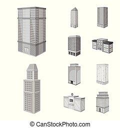 bâtiment, ensemble, illustration., signe., moderne, vecteur, conception, realty, stockage