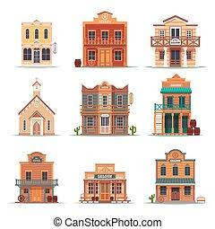 bâtiment, ensemble, isolé, ouest, occidental, sauvage