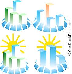 bâtiment, ensemble, logos.
