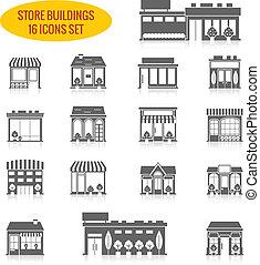 bâtiment, ensemble, noir, magasin, icônes