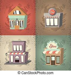 bâtiment, ensemble, retro, extérieur, façade, magasin