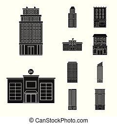 bâtiment, ensemble, stock., propriété, moderne, vecteur, conception, logo., icône
