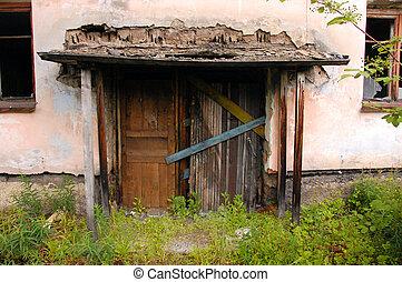 bâtiment, entrée, abandonnés