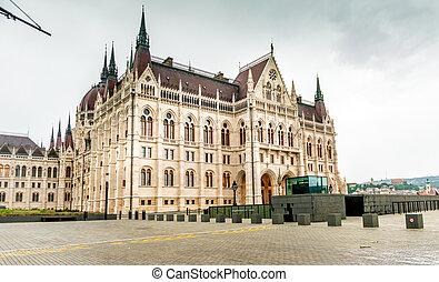 bâtiment, entrée, parlement, national, hongrois