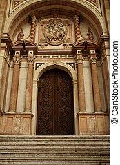 bâtiment, entrance., vieux