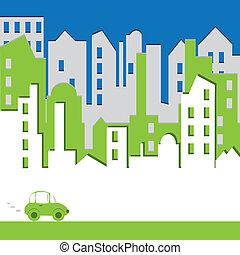bâtiment, environtmant, concept, résumé, voiture., cityscape.