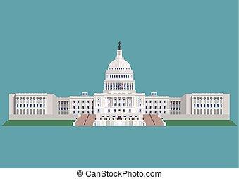 bâtiment, etats, uni, capitole, amérique