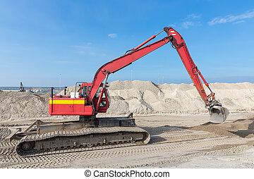 bâtiment, excavateur, port, site, construction, hollandais, nouveau