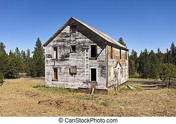 bâtiment, exploitation minière, vieux