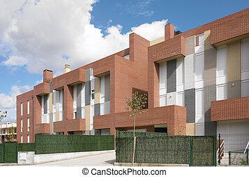 bâtiment extérieur, béton, et, brique, construction