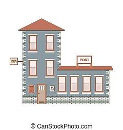 bâtiment extérieur, de, poste, bureau., vecteur, illustration, eps10