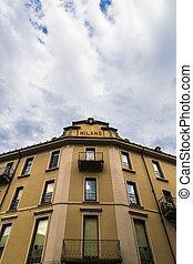 bâtiment,  façade, historique,  de, sous