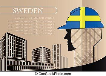 bâtiment, fait, fonctionnement, industrie, drapeau, suède, vecteur, illustration, logo, concept.