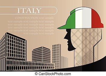 bâtiment, fait, italie, fonctionnement, industrie, drapeau, vecteur, illustration, logo, concept.
