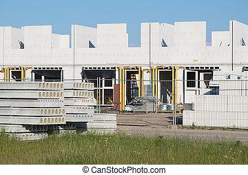 bâtiment, famille, briques, site, maisons, construction, sand-lime