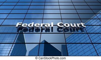"""bâtiment, """"federal, temps, lapse."""", tribunal, nuage"""