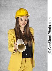 bâtiment, femme, plans, business, jeune, donne