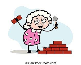 bâtiment, femme, vieux, mur, -, illustration, vecteur, grand-maman, dame, dessin animé