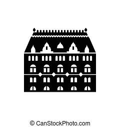 bâtiment, fenetres, arqué, icône
