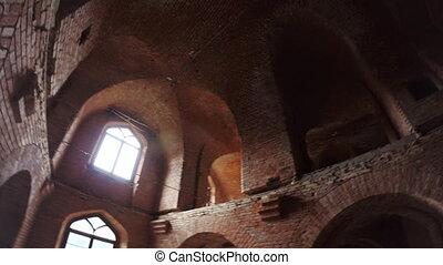 bâtiment, fenetres, brique, plafond, vieux