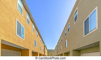 bâtiment, fenetres, dos, portes, garage